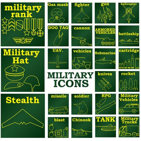 allied: yellow color military icons in green color plates Illustration