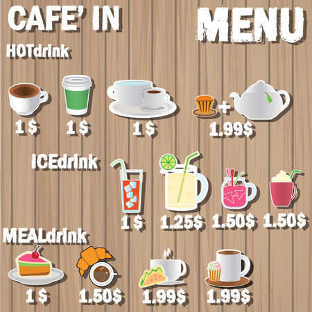coffee menu and color picture icons on wood label Vector