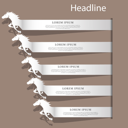 Silver color horse text racing on brown color background