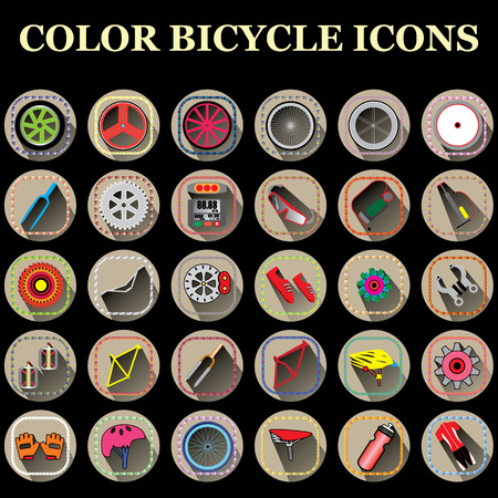 biking glove: color bicycle part icons in brown color circle Illustration