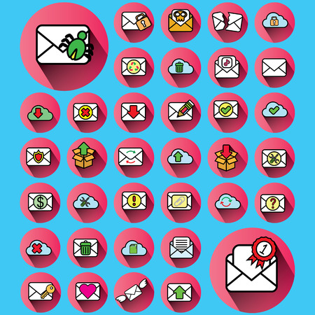 envelope icons in pink color circle and blue color background
