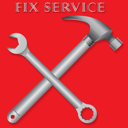 setup man: Hammer and wrench placing a cross symbol. Of repair On red background