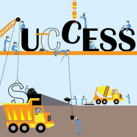 Construction workers are collaborating to create success.