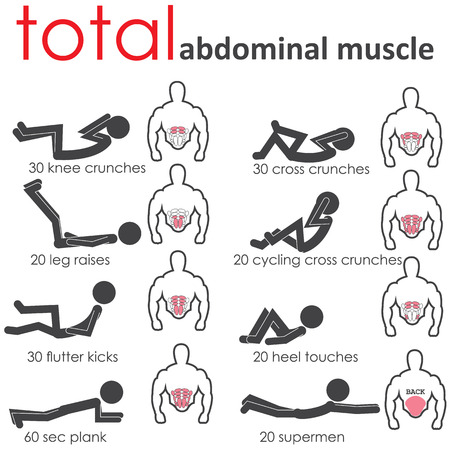 Posture of the body to build muscle belly.  イラスト・ベクター素材