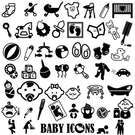 赤ちゃん白い背景の上の黒いアイコン