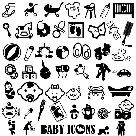 feverish: black icons about baby on white background