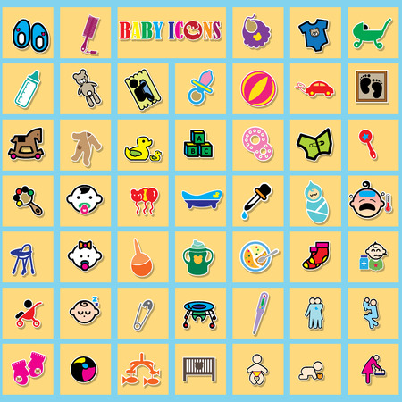 bolster: colorful sticker icons about baby in yellow square