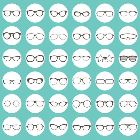 茶色の色白色円のメガネのアイコン  イラスト・ベクター素材