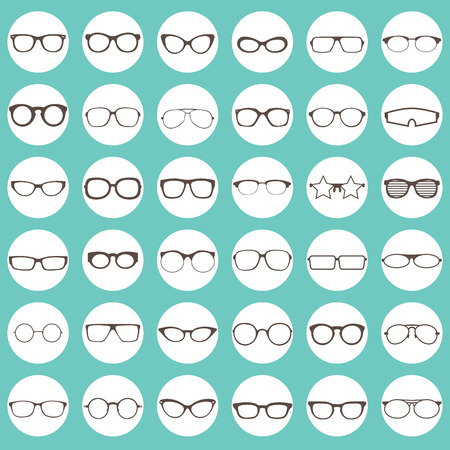glasses: brown color icons of glasses in white color circle Illustration