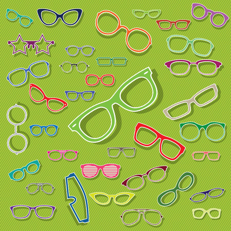 eyewear: Icons colorful glasses were scattered  on the green background