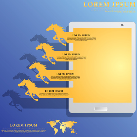 Yellow Horse soar off the screen tablet to fill your message to complete.