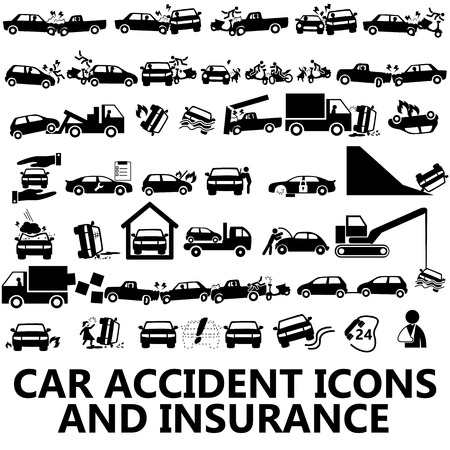 car garage: Black icon with a car accident and insurance.