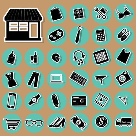 Icono de bienes y servicios en el comercio en línea colocado en un círculo verde.