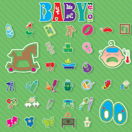 teether: color icons about baby on green background Illustration