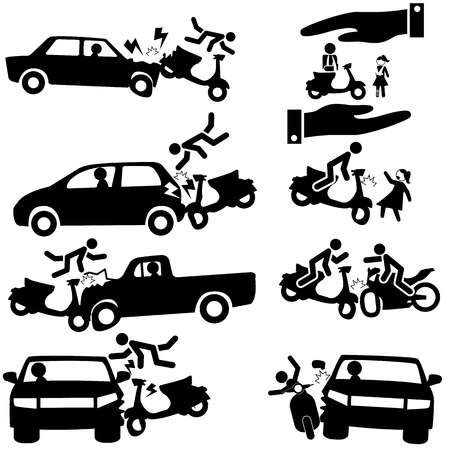 Icon of insurance on a motorcycle accident. Vector