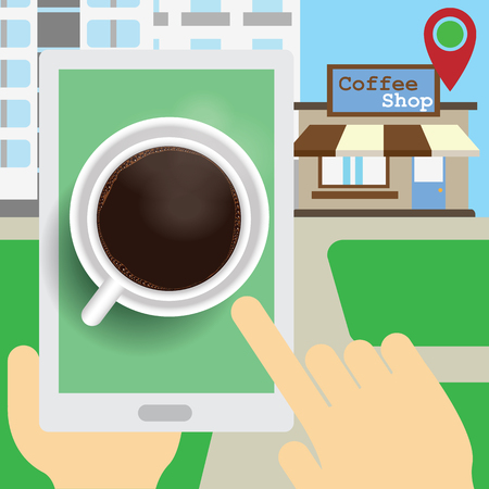 hands Browsing The applications on the tablet. To find a coffee shop, the indicator points to the coffee shop on the front. Vector