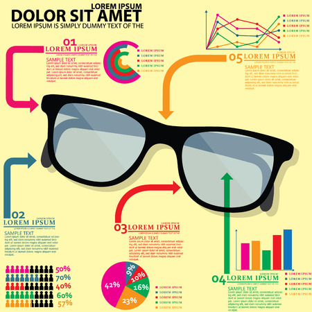 Graphical display of glasses charts and graphs. On a yellow background Vector
