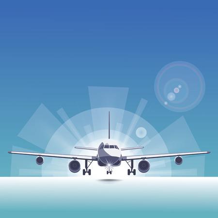 radius: Running airliner  on the runway The shining light radius Bright behind