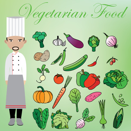 rad: Vegetarian and chef in vector style