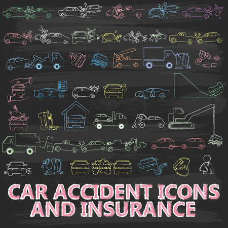 swerving: Chalk Painting About Icon Car Insurance on blackboard