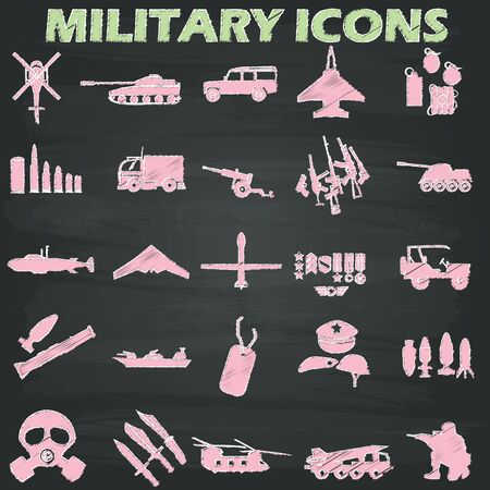 allied: Military icons  drawn with chalk on a blackboard. In the form of vector Illustration