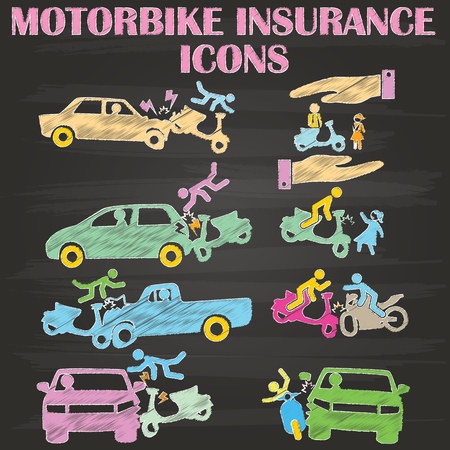 accidents involving motorcycles draw with chalk on the blackboard in the form of vectors.