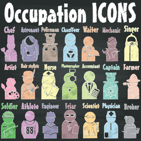 occupation: Occupation icons  drawn with chalk on a blackboard. In the form of vector