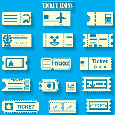 Yellow color ticket icons on blue color background