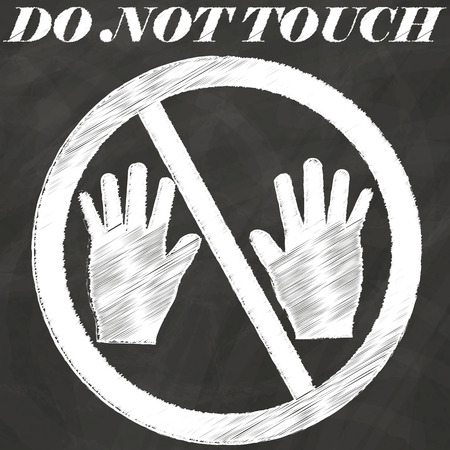 hand touch: Can not touch sign hand drawing by chalk on blackboard