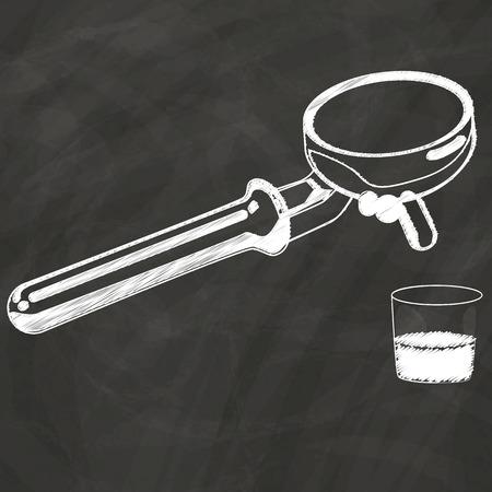 coffee maker: El boceto cafetera tiza en la pizarra