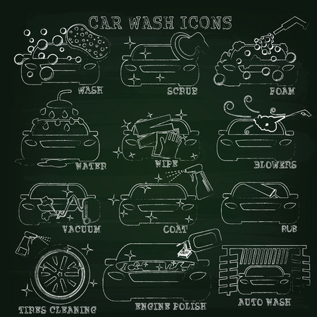 cleaner vacuuming symbol: color car wash icons on white background Illustration