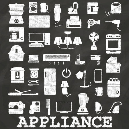 Appliance icons painted by chalk on blackboard