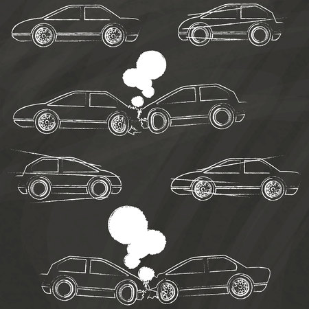 Accident car icons Hand Drawing with chalk on blackboard Vector