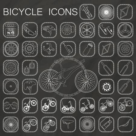 biking glove: bicycle icons  on chalkboard background