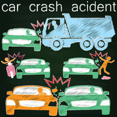 Icon for car crash accident on Side collision paint by chalk on blackboard Ilustração
