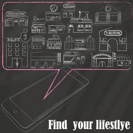 smartphone mano: I luoghi di negozio su disegno a mano smartphone gesso