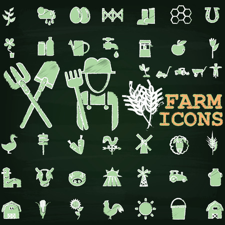 mowers: Green color farm icons paint by chalk on chalkboard Illustration