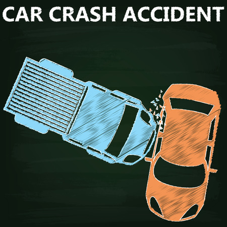 auto accident: Orange color car collided with a blue pickup truck have side damage on chalkboard. Illustration