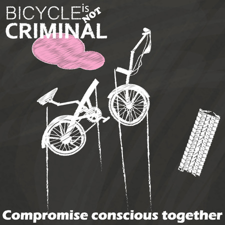 concern: Folding bicycles falling and damage have blood drawn and wheel tracks near drawing by chalk  on the blackboard.