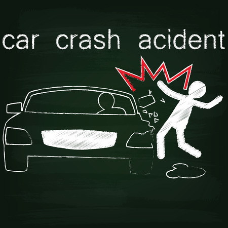 party down: symbol for car crash accident on Side collision Between cars and people sketch by chalk