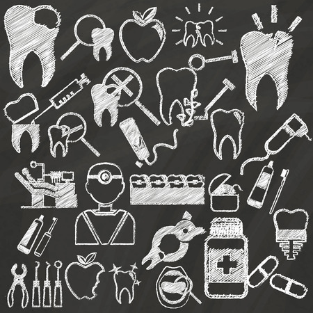 green board: White dental icons hand drawing by chalk on green board