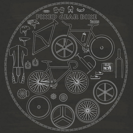 fixed: Fixed gear bicycle  icon graphics, hand sketch on a blackboard.