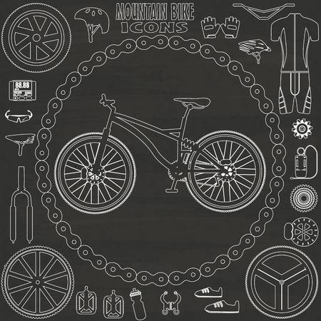 biking glove: mountain bike icons sketch by hand drawing on chalkboard