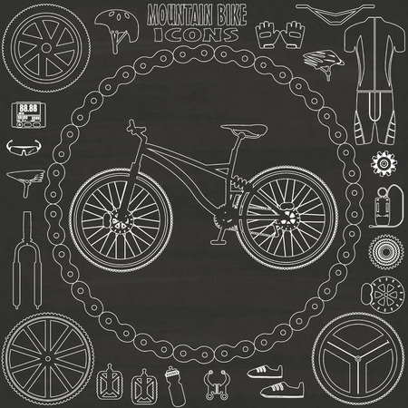 mountain bike icons sketch by hand drawing on chalkboard