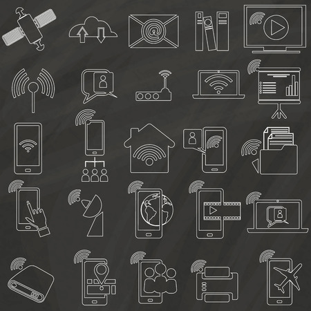 old cell phone: Icons for communications connectivity within the home, hand-drawn on a blackboard.