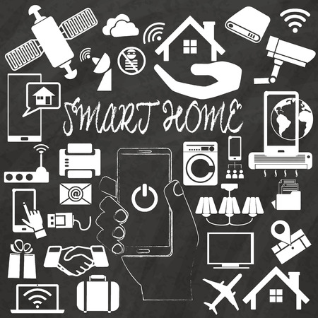 assembled: Smart Home vector illustration with home assembled with white icons hand drawing by chalk on black board