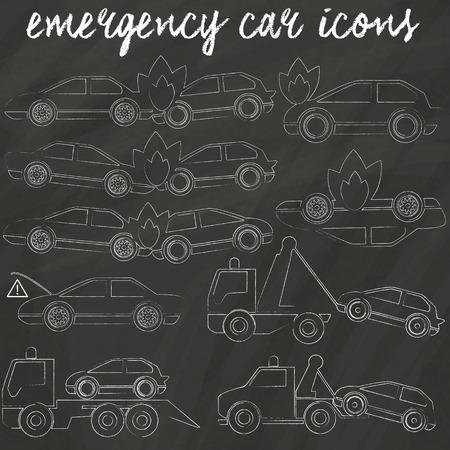 disegno a mano: carro attrezzi e auto incidente icone incidente disegno a mano da gesso sulla lavagna