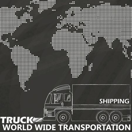 shipper: Delivery truck on world map sketch hand drawing by chalk on blackboard Illustration