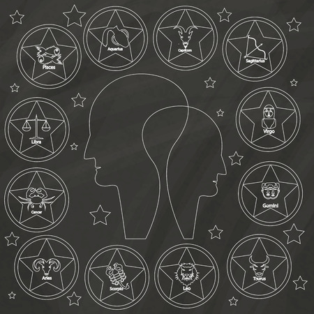 clairvoyant: Zodiac sign drawn with chalk on blackboard surrounded a middle man.
