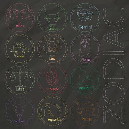 Zodiac sign drawn with colors chalk on blackboard Illustration